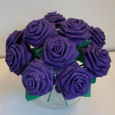 Handmade Origami Crinkle Paper Roses 12 Short Stems Purple
