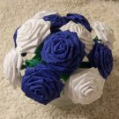 Handmade Origami Crinkle Paper Roses 12 Short Stems White + Blue