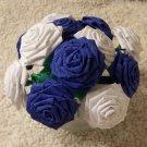 Handmade Origami Crinkle Paper Roses 12 Short Stems White + Blue