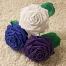 Handmade Origami Crinkle Paper Roses 3 Short Stems White+ Blue+ Purple
