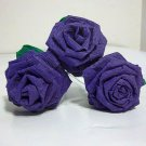 Handmade Origami Crinkle Paper Roses 3 Short Stems Purple