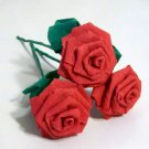 Handmade Origami Crinkle Paper Roses 3 Short Stems Red