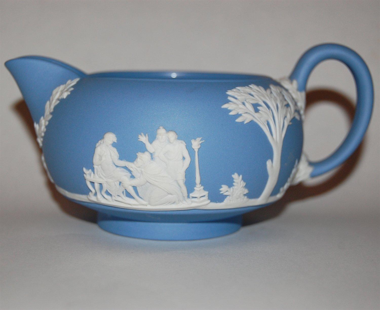 WEDGWOOD Light Blue Jasperware Creamer Pitcher 1960 MINT