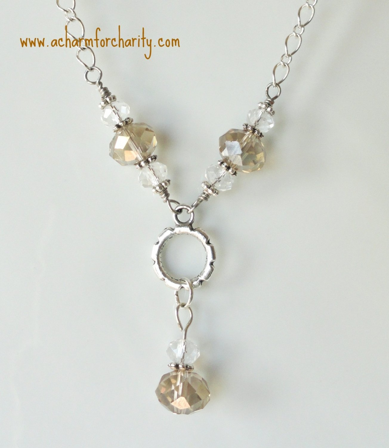 Taupe and Clear Drop Crystal Necklace-101