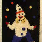 VINTAGE JUGGLING CLOWN RUG Large Latch Hooked Finished Craft Handmade Completed