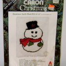 1979 LATCH HOOK KIT Snowman 20&#39;&#39; x 27&#39;&#39; Vintage Caron Christmas Rug Large Frosty