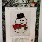 1979 LATCH HOOK KIT Snowman 20'' x 27'' Vintage Caron Christmas Rug Large Frosty