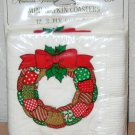 1977 AMERICAN GREETINGS CHRISTMAS PETITE NAPKINS LOT Vintage Coaster Size Wreath