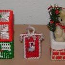 CROSS STITCH ORNAMENT LOT - Bird House Bear Blocks - Finished Vintage Christmas