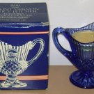AVON MOUNT VERNON SAUCE PITCHER Fostoria Candle Holder Blue Crystal Perfume BOX
