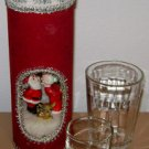 1970s CHRISTMAS CANDLE HOLDER Vintage Handmade Mr. Mrs. Santa Claus Kissing Deer