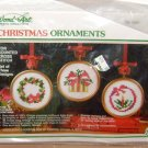 WONDERART CHRISTMAS ORNAMENTS CROSS STITCH KIT 3 Set Counted Wreath Candle Gold