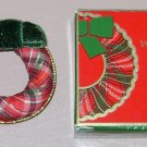 1984 AVON HOLIDAY WREATH PIN - Vintage Christmas Fabric - Ornament Tree Brooch
