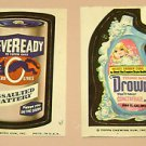 1973 TOPPS WACKY PACKAGES STICKERS LOT Neveready #17 Drowny #10 Battery Card Gum