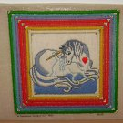 1981 CANDAMAR DESIGNS - Unicorn Picture - Needlepoint Cross Stitch Finished Baby