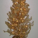 3ft CHRISTMAS TREE - Gold Ice - Lighted Glitter Shabby Chic Victorian Tinsel