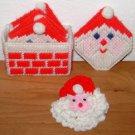 CROSS STITCH ORNAMENT LOT - Santa Claus Coasters Pin - Crochet Finished Vintage