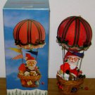 ENESCO CHRISTMAS WOODEN FIGURE Vintage Santa Hot Air Balloon Ornament Music Box