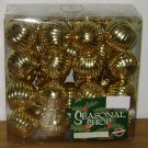 32 GOLD ORNAMENTS - 2'' Plastic Ball Christmas - Box New Lot Rigged Victorian