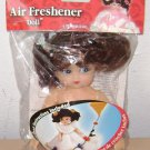 FIBRE CRAFT AIR FRESHENER DOLL - NEW! Brunette Blue Brown Hair - Holder Fiber
