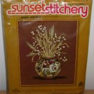 1976 SUNSET EMBROIDERY KIT - Indian Heritage - Vintage Vase Flowers Cross Stitch