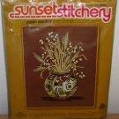 1976 SUNSET EMBROIDERY KIT - Indian Heritage - Vintage Vase Flowers Cross Stitch