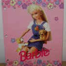 1996 BARBIE w/ PUPPY FOLDER - 2-Pocket - Pink & Blossoms Vintage Impact Inc USA