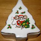 LEFTON CHRISTMAS TREE TRINKET BOX Vintage Mouse Ceramic Porcelain Japan Figure