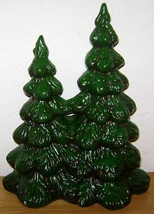 10 Ceramic Christmas Tree Vintage Glenview Mold Green Painted