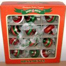SHINY BRITE ORNAMENTS - Vintage Reproductions - 2012 Red Green White SpiralTop