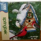 WINTER COTTAGE PUZZLE Sringbok 1000 Piece Bird Cardinal Christmas Scene NEW 2007