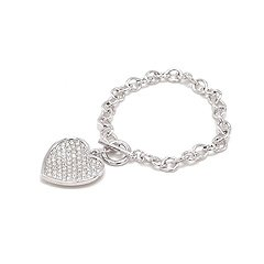 White Gold Heart Silver Bracelet