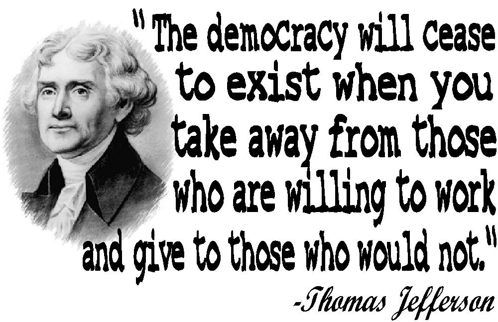 Thomas Jefferson democracy quote ASH GRAY Tee Adult LARGE