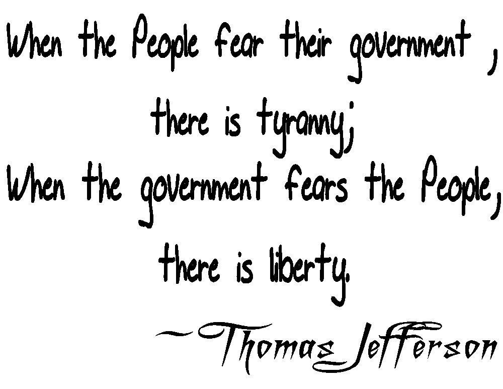 Thomas Jefferson tyranny quote Tee! WHITE Tee Adult LARGE