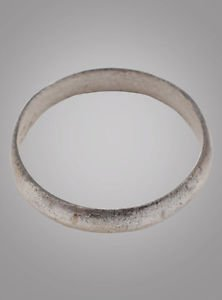 Ancient Silver over bronze Viking Age Ring, C.866-1067A.D. Size 9 1/4  (18.4mm)(