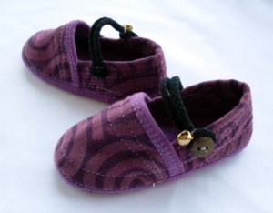 Funky colourful children&#039;s shoes for boys or girls. Purple. Baby toddler small size