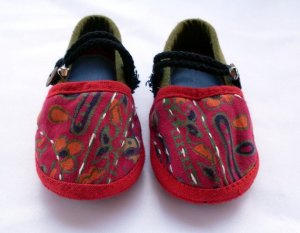 Funky and colourful childrens shoes for boys or girls. Green red blue black. Baby toddler small size