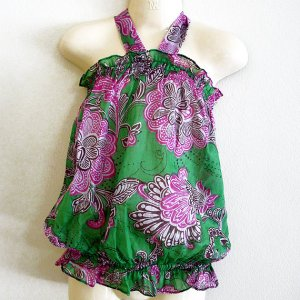 Funky colourful toddler childrens clothing. 3 to 4 years. Adjustable size. Green summer halter top.