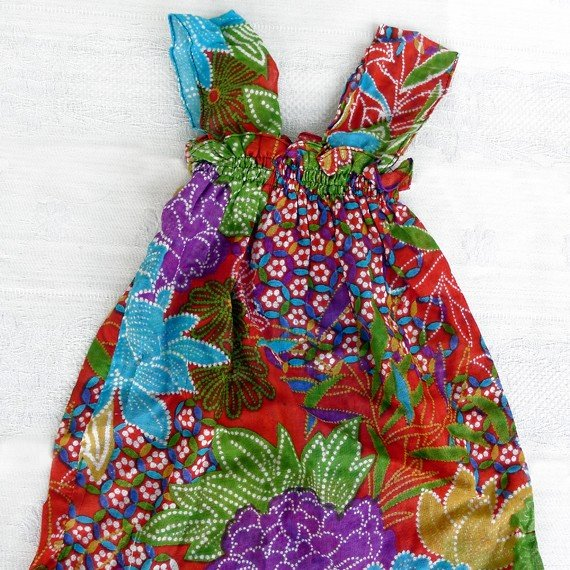 Funky colourful toddler girls childrens clothing. 2 to 3 years & up. Adjustable size. Summer top.