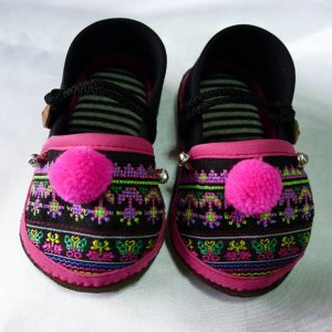 Funky colourful childrens shoes. Black and pink. Toddler medium size