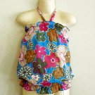 Funky toddler childrens clothing. 2 + yrs. Adjustable size. Blue pink flower summer halter top.