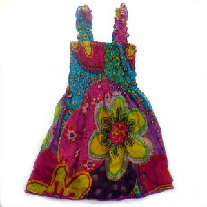 Funky summer sun dress. Adjustable size. Colorful toddler girls children's clothing.