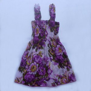 Funky purple flower summer sun dress. Adjustable size. Colorful toddler girls children's clothing.