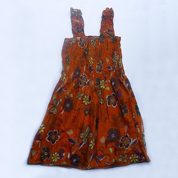 Funky orange summer sun dress. Adjustable size. Colorful toddler girls children's clothing.