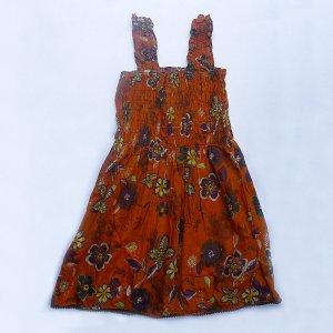 Funky orange summer sun dress. Adjustable size. Colorful toddler girls children's clothing.