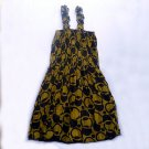 Funky yellow & brown summer sun dress. Colorful toddler girls children's clothing. Adjustable size.