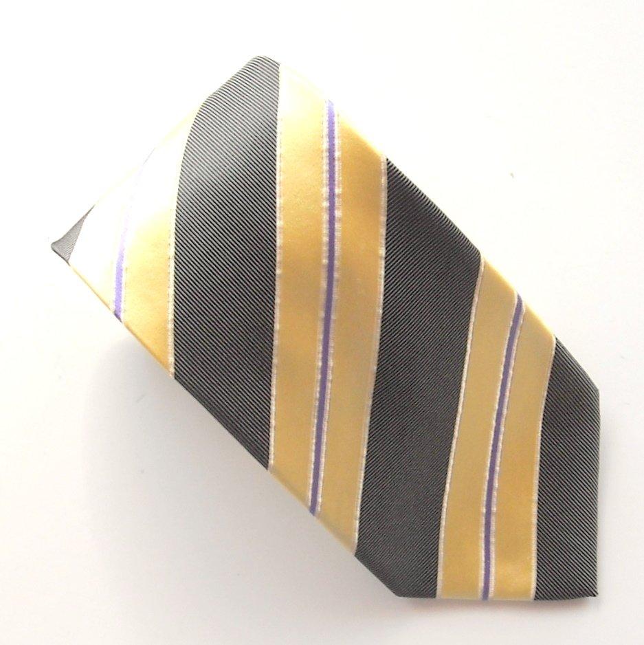 The Tie Bar Yellow Purple Black Striped Design mens 100% Silk necktie tie