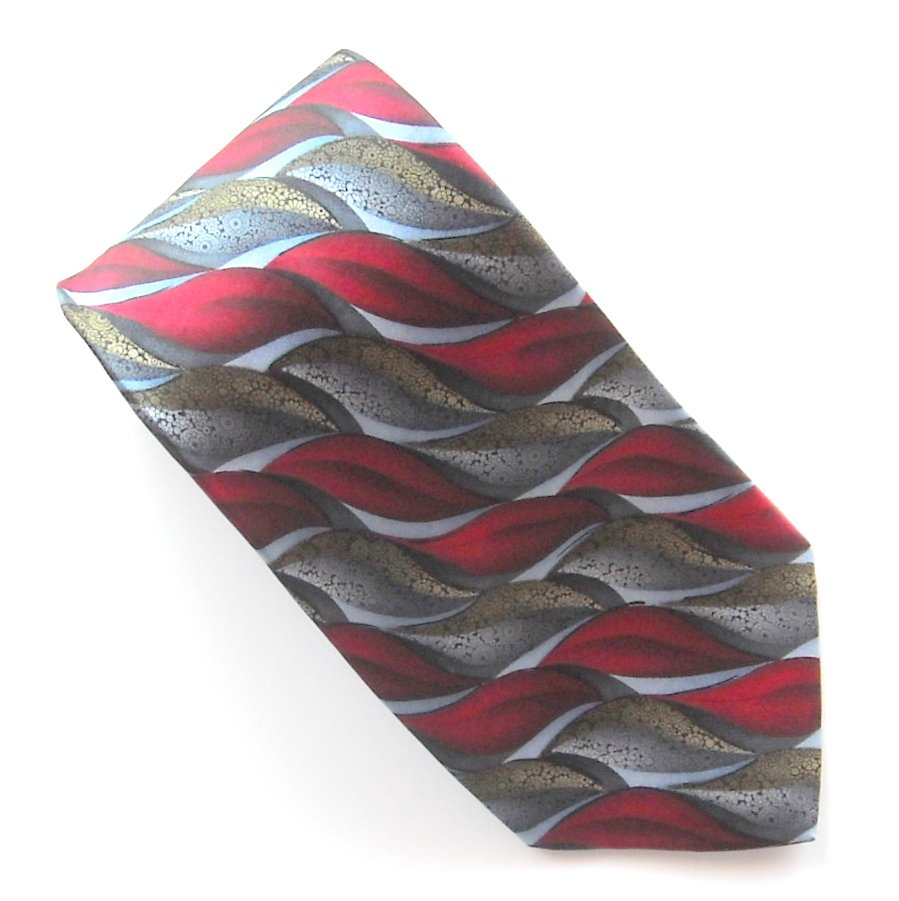 Arrow Red Blue Gray Silver Design 100% Silk mens necktie