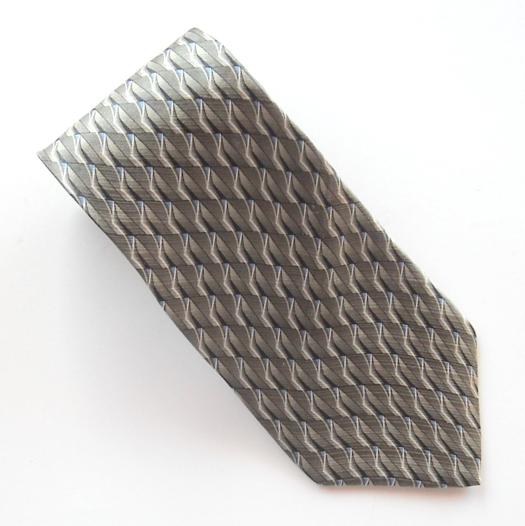 Arrow Platinum Blue Gray Silver Geometric Design 100% Silk mens necktie
