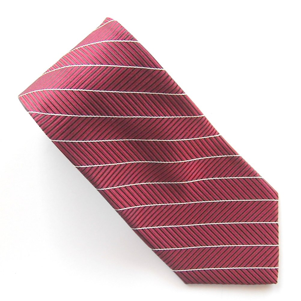 Burgundy Red Herringbone Striped Design Croft & Barrow 100% Silk necktie tie